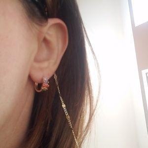 Jewelry - Gold plated Rainbow Hoop huggies Earrings